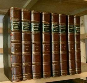 1817年  Ancient History of Egyptians/Assyrians/Persians/Grecians  8本全 含8副拉页地图 2副拉页插图 3/4真皮装帧  三面书口花纹 21.5 x 13.5 cm  重5.2KG