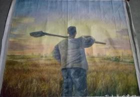 当代著名艺术家郭润文大幅布面油画《拓荒者》一幅