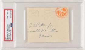 """""""二十世纪的拿破仑"""" 美国战神 巴顿 将军George Smith Patton 亲笔签名信封 PSA鉴定"""