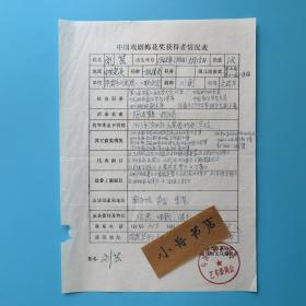 著名川剧艺术家 刘芸 钢笔填写 中国戏剧梅花奖获得者情况表一份(第五届和第十一届二度梅)953