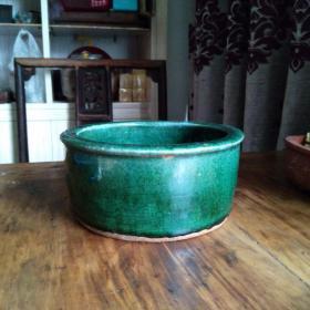 包真古代古陶瓷收藏 晚清石湾窑绿釉开片水洗茶叶缸 民间古物包老