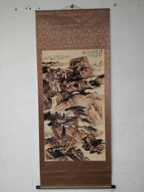 古董收藏字画仿山水画四尺中堂画罗浮黄龙洞实物拍摄B079T