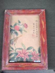 老牡丹花框画