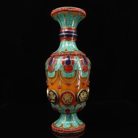 尼泊尔收纯手工制作蜜蜡镶嵌宝石掐丝花瓶宝瓶