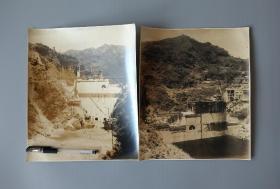民国时期地质水文建设老照片2张,尺幅巨大29/24cm,研究水利建设的珍贵实物资料