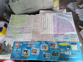 """八十年代初期,上海地图,上有民族品牌""""凯歌电视机""""广告画"""