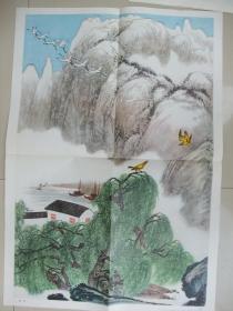 像年画一样的2开老挂图:绝句(张岳健画、色彩鲜艳、非常漂亮、上海教育出版社、品佳、保真保老)
