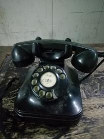 老电话机 (黑色胶木,转盘式,字盘清晰,转盘还能正常转动回位)品相好