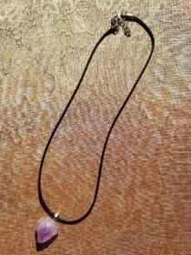 天然紫水晶原石吊链 项链