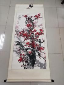 原河北省美协主席 武修中 壬午年(2002年)国画作品 《古梅情》原装原裱、画心尺寸:130*63cm