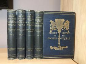 1903年英文古董书  A Short History of the English People  四卷全 内含大量黑白插图及彩色插图