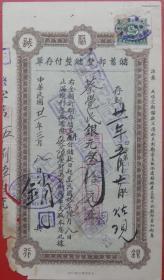 bx1820民国21年聚兴诚储畜部银元30元存单硬纸,,贴四川石印地图旗一版印花税二分