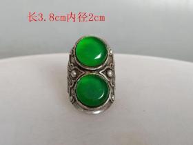 清代传世足银镶嵌冰种满绿翡翠戒指