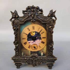 古董收藏字画旧藏回流纯铜机械表摆件