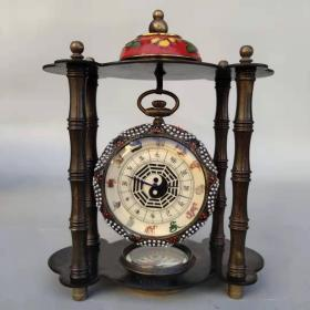 旧藏回流景泰蓝纯铜十二生肖八卦机械表摆件