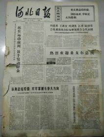 """文革报纸   河北日报1974年5月6日(4开四版);热烈欢迎桑戈尔总统;坚持""""五.七""""道路;"""