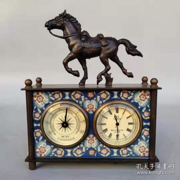 旧藏回流欧美风情纯铜双盘马机械表摆件