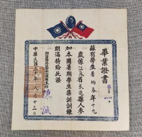 """""""小委员长""""陈诚签发《湖北省地方行政干部训练团毕业证书》1941"""