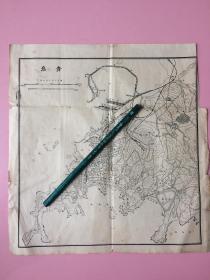 稀见,民国,地图,青岛,约17cm,16cm