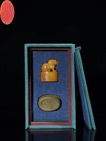 .民国.寿山田黄石手工雕刻狮扭印章