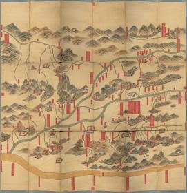 0046古地图1734清雍正12年河南府河图。纸本大小89.98*92.78厘米。宣纸原色微喷印制。按需印制不支持退货