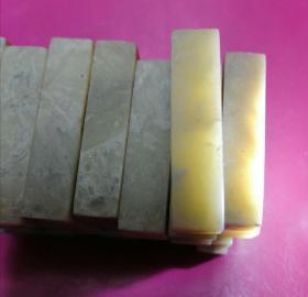 老坑青田冻,硬笔书法、扇面小章,尺寸约5X1Ⅹ1(有少许出入),共52枚,52枚全要300元。
