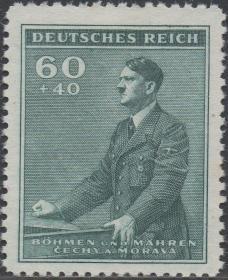 德国占领波希米亚邮票ZG,1940年二战纳粹元凶希特勒,60+40附捐邮票,德意志第三帝国二战时期