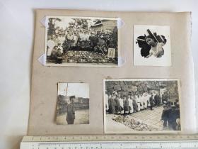 民国抗战时期原版老照片:福冈猎友会慰安鬼子伤病将士献纳品合影地上摆满了野鸡之类的等照片4张