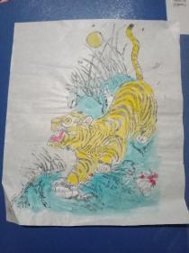 建国初木版年画《虎》。