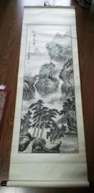 手绘真迹国画:连鹏山水画《松岩竞秀》立轴