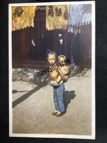 【影像资料】民国早期北京民俗风情明信片_ 街道上两名赤身男孩等景象(小孩赤背)