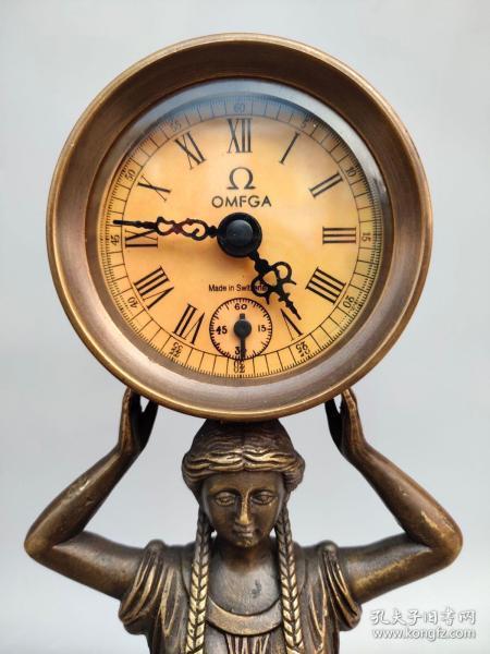 旧藏回流OMEGA纯铜美女机械表摆件尺寸如图,重830克