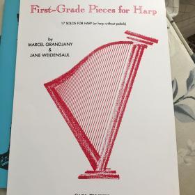 竖琴谱:First-Grade Pieces for Harp 内含英皇考级1级 踏板/无踏板 A选项指定考试曲目 库存仅此1本