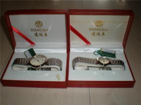 钟表类:收藏适用佩戴通达手表不锈钢带坦克链带男女情侣款手表一对2块(一)