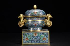 青铜垒式景泰蓝香炉