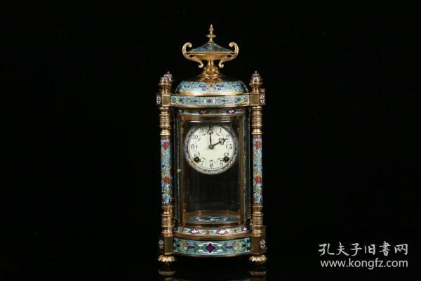 老景泰蓝机械座钟
