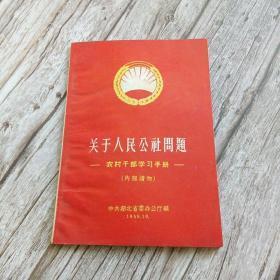 【孤本】关于人民公社问题 ——农村干部学习手册(内部读物)中共湖南省委办公厅