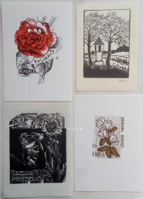 欧洲木版画藏书票4张合售30组