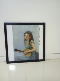 油画琵琶女孩。
