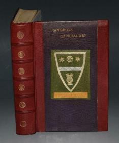 1882年JOHN CUSSANS _ Handbook of Heraldry《库萨斯纹章手册》珍贵全野牛皮手工创意豪华装桢 大量插图 品相上佳 商标设计师的圣经  送礼佳品
