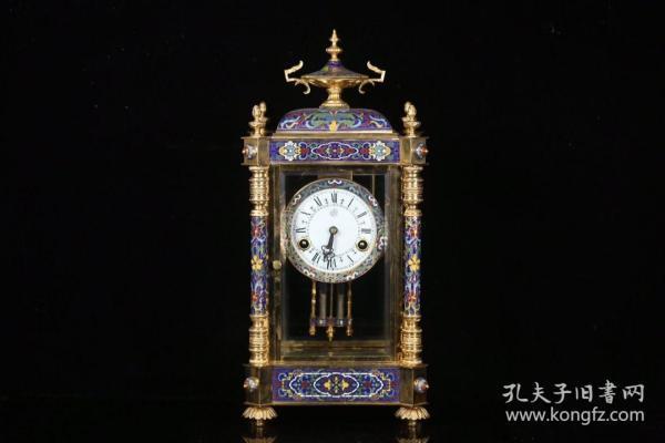 老景泰蓝  机械座钟