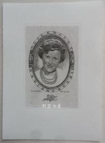 捷克雕刻铜版画藏书票女子肖像