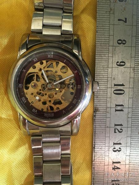 燕尾表链表带宽20mm送daybird透明机械表腕表手表会走时的喔容易停不退换喔
