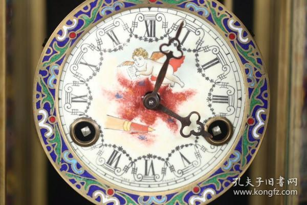 老景泰  蓝机械座钟