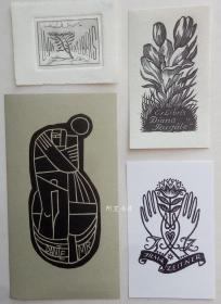 欧洲木版画铜版画藏书票4张合售40组