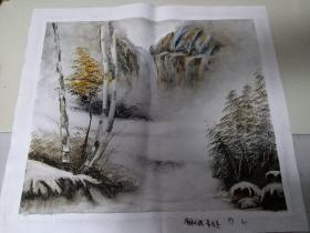 手绘布面画:净月小满风景画