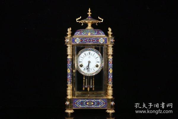 欧洲回流 老景泰蓝机械座钟