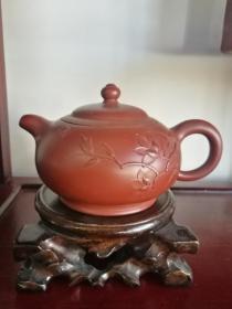 方勤平大师作品、原矿大红袍料手工制作花货紫砂壶