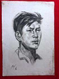 书画原作2863,巴蜀画派·名家【江溶】70年代素描画,肖像