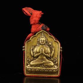 珍藏西藏寺院收老纯铜纯手工打造开光藏传佛教密宗四臂观音嘎乌盒